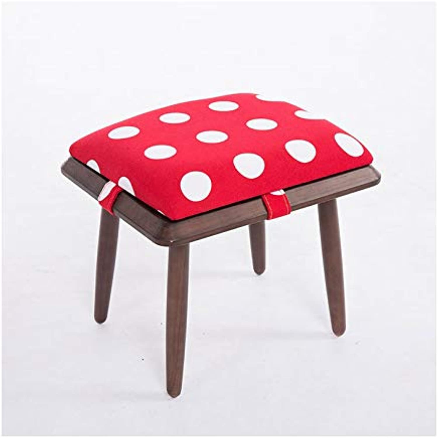FS Footstool, Solid Wood Stool Wood Square Stool shoes Bench Creative Sofa Stool 30×30×27cm (color   F, Size   Brown Stool Legs)
