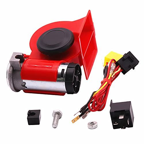 SoundOriginal Air Horn for Track/Car/motorcycle,12Volt Loud Car Air Horn Car Horn Kit with Relay Wire Harness for Jeeps Boat Golf Cart (Red+Wiring Kit)