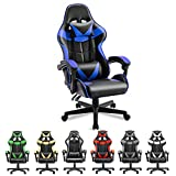 Soontrans PC Gaming Chair Blue,Ergonomic Gamer Chair,Game Chair with High-Back,Adjustable Headrest and Lumbar Support (Storm Blue)
