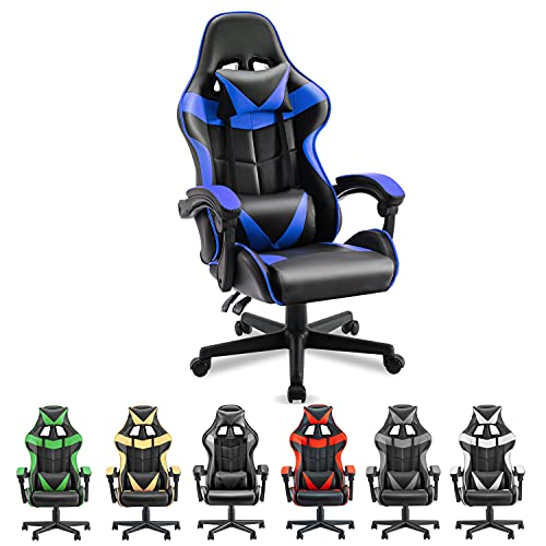 Soontrans PC Gaming Chair,Ergonomic Gamer Chair,Racing Chair for Gaming Computer Chair,Game Chair with High-Back,Adjustable Headrest and Lumbar Support (Storm Blue)