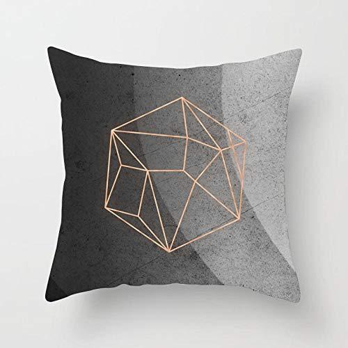 ASADVE Funda de cojín geométrica, color blanco y negro, de algodón, de poliéster, funda de almohada geométrica, cojín decorativo para cojín Drd27-9