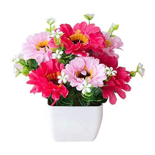 LUCHAO Bonsai Künstliche Chrysantheme Blume Topfpflanze Lebensleine Gypsophila Holztopf Bonsai Home Garten Ornamente Dekoration (Farbe : Rose Red)