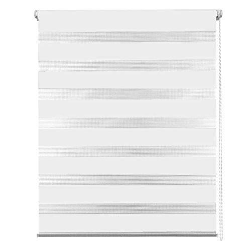 MCTECH® Doppelrollo Duo Rollo Klemmfix ohne Bohren Fenster-Rollo Springrollos mit Klemmträger (70 x 120 cm, Weiß)