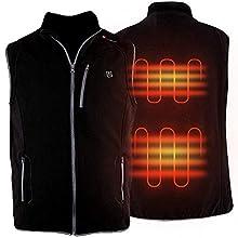 PROSmart Heated Vest Polar Fleece Lightweight Waistcoat with USB Battery Pack(Unisex,Black) (Black, L)