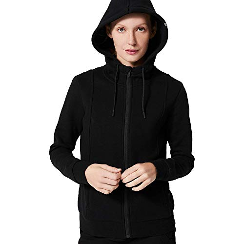 FIGS Women's Essential Hoodie 2.0 Ridiculously Soft Athletic Fit Sweatshirt with a Professional Look, Funnel Neckline and Cozy Hood, Black, X-Large