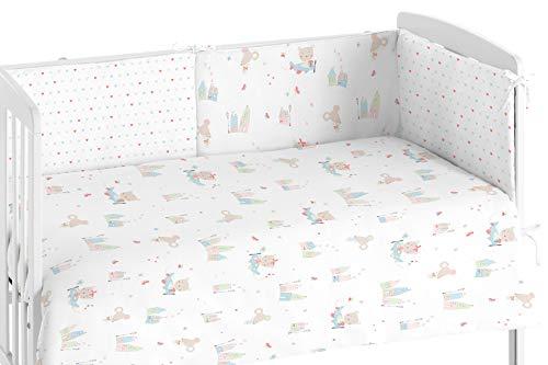 Burrito Blanco Edredón Cuna y Protector para Bebés 007 con Un diseño de Casitas con Graciosos Animales para Cuna de 60x120cm/Edredón Cuna + Chichonera, Rosa y Beige
