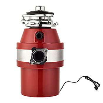 KUPPET Garbage Disposal Garbage Disposal with 1/2 HP Household Food Waste Garbage Disposal Continuous Feed with Power Cord 3 Level of Grinding 2600 RPM  Red
