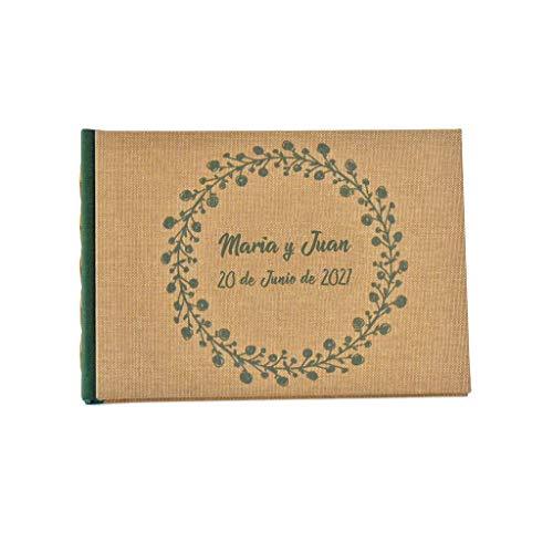 Libro de firmas personalizado A5 15x22 cm | Nombre y fecha grabado en portada | 80 hojas papel reciclado o blanco | Libro de invitados artesanal para boda comunión bautizo cumpleaños jubilación