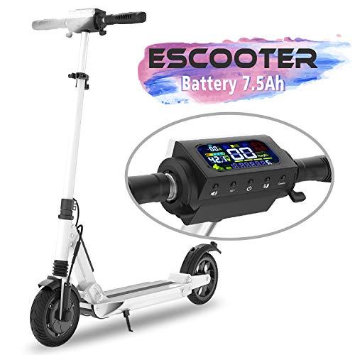 COLORWAY Trottinette électrique S1, patinette Pliable pour Enfant et Adulte Robuste avec LED et Roue 8.5 Pouces (Blanc)