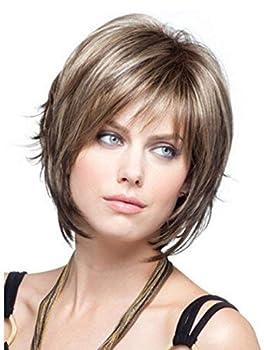 SmartFactory Short Dark Brown Peruvian Curly Human Hair Synthetic Fiber Wig for Women