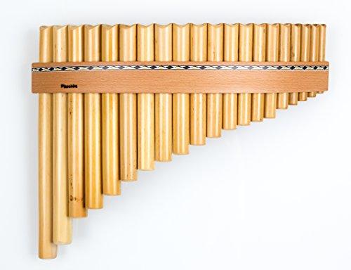 Panflöte aus Bambus mit 20 Töne-Rohre in C-Dur mit Holzriemen-Design, handgemacht, handmade von Plaschke Instruments aus Südtirol/Italien