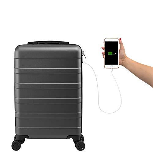 Cabine Max Anode 55x35x20 cm Trolley koffer | Lichtgewicht Harde buitenkant | USB-poort | Vlucht | Goedgekeurd British Airways, Ryanair, Easyjet, TUI, Transavia | Handbagage koffer | Reistas | Trolley | Handbagage
