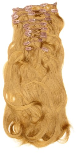 Love Hair Extensions - LHE/K1/QFC/120G/10PCS/18/27 - Thermofibre™ Lisses et Soyeux - 10 Pièces Clippants en Extensions - Couleur 27 - Blond Riche - 46 cm