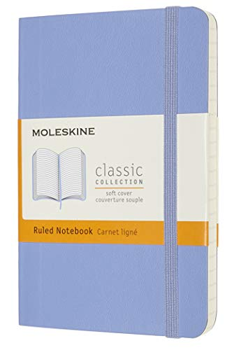 Moleskine - Cuaderno Clásico con Hojas de Rayas, Tapa Blanda y Cierre con Goma Elástica, Tamaño de Bolsillo 9 x 14 cm, Color Azul Hortensia, 192 páginas