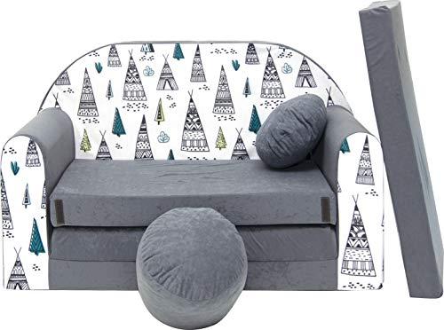 Sofá infantil, sofá para jugar, minisofá de espuma con cojines, color a elegir Aj3
