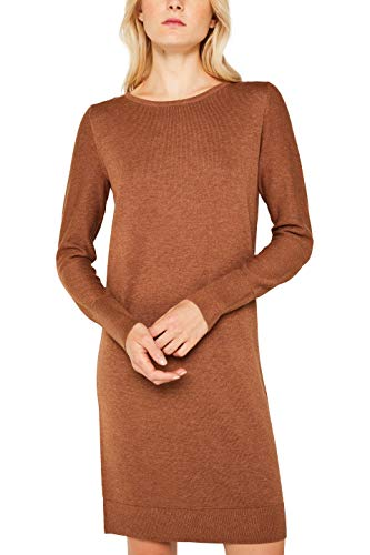 ESPRIT Damen 089Ee1E001 Kleid, Braun (Caramel 5 239), Large (Herstellergröße: L)