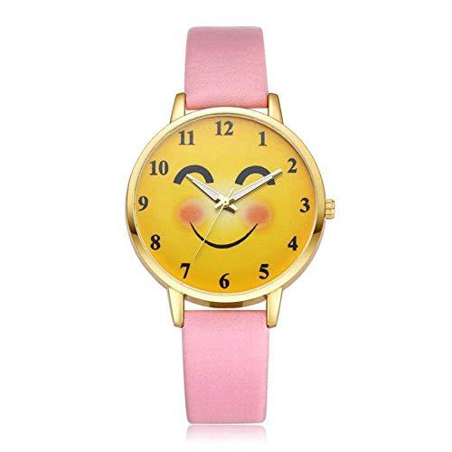 Unisex-Armbanduhr mit Emoji-Motiv und Smiley-Motiv, Quarzuhrwerk mit Armband aus PU-Leder
