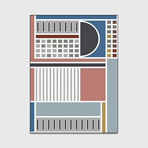 ZAZN Alfombra Geométrica De La Sala De Estar De La Flor del Mosaico Alfombras De Las Puertas De La Sala De Estar del Dormitorio Azul Y Rojo Mediterráneo Alfombras Antideslizantes para El Piso De La
