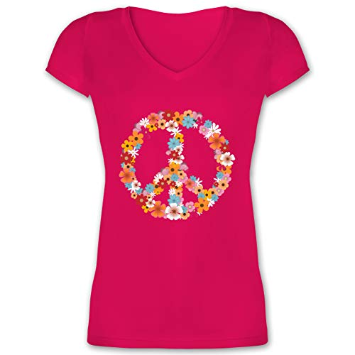Statement - Peace Flower Power - L - Fuchsia - Flower Power Tshirt Damen - XO1525 - Damen T-Shirt mit V-Ausschnitt