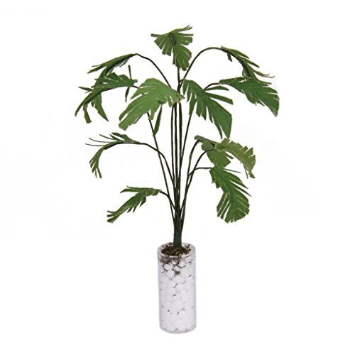 TOOGOO 1/12 Vert Bananier dans la Bouteille Blanche Maison de Poupee Miniature Accessoires de Jardin