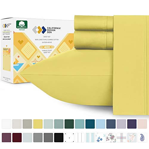 California Design Den Sunshine Yellow Sheets Queen Size - 400 Thread Count 100% Natural Cotton, Soft Sateen Weave 4 Piece Sheet Set, Elasticized Deep Pocket Fits Low Profile Foam and Tall Mattresses
