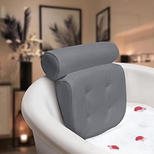 Essort Badewannenkissen,Komfort badewanne kopfkissen mit Saugnäpfen, badewanne nackenpolste für Home Spa Whirlpools, Luxus Badekissen Kopfstütze (38 x 36 x 8.5 cm) Grau