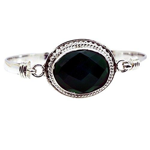 Gemsonclick Natürliche Grüne Onyx Armreif Armbänder für Frauen 925 Silber Juli Birthstone Charm L6.5 bis 8 Zoll