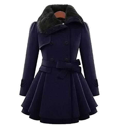 OKJI Vrouwen Zwarte Sjassen Windbreaker Warm Bovenkleding Jassen met Lady Elegante Sluiting Asymmetrische Hem Mantel Jas Wollen Femme