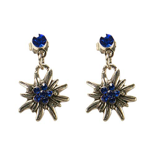Alpenflüstern Trachten-Ohrstecker hängend Strassedelweiss mini - Damen-Trachtenschmuck, Trachten-Ohrringe blau DOR046