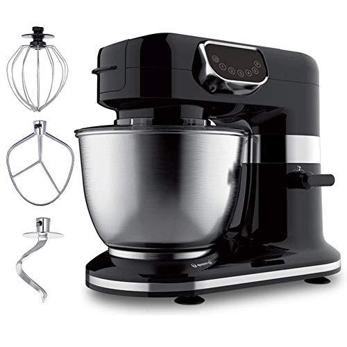 1200W Food Stand Mixer mit 4L Rührschüssel 5-Gang Küchenmixer mit Impulsfunktion inklusive Teighaken Schneebesen Beater für Weizenfutter Salat Kuchen (schwarz)