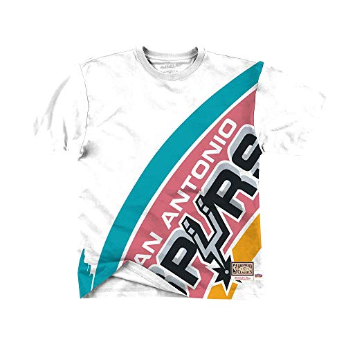 Mitchell & Ness NBA Big Face San Antonio Spurs - Camiseta de manga corta, color blanco Blanco XXL