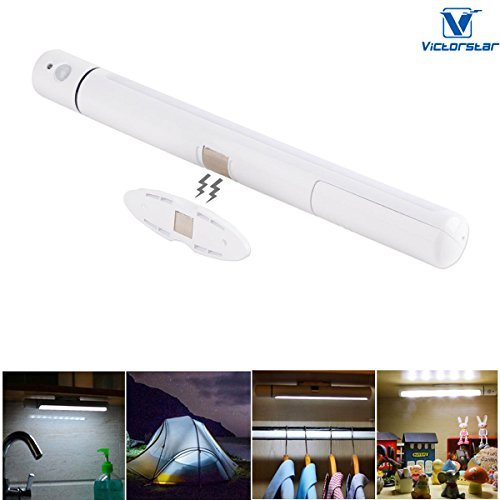 VICTORSTAR Motion Sensor Wardrobe Night Light 5 LED Sensing Activated Night Light, Rotating Sensor, Magnet Base and Portable for Wardrobe, Cabinet, Camping, Corridor, Stair, Hallway - Warm White