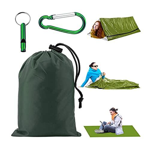 Gsrhzd Saco de Dormir de Emergencia, Saco de Dormir de Camping, Saco de Dormir de Emergencia al Aire Libre con Silbato, frío, Impermeable y cálido, Apto para Acampar (Verde)