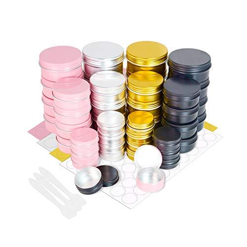 48 tarros de Aluminio con Tapas de Rosca, PUDSIRN 15/50/80 ml latas Redondas de Aluminio envases cosméticos vacíos para bálsamo Labial, loción, Crema, máscaras, Velas