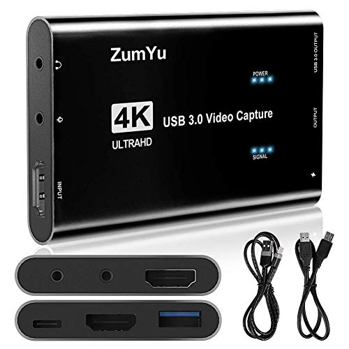 ZumYu Video Capture Card 4K 60FPS HDMI USB3.0 HD Game Capture Card Device,...