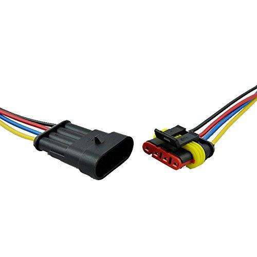 E Support™ Connecteur Electrique Etanche Prise 4 Pin Kit avec Fil AWG pour Voiture Connecteur auto c?bler