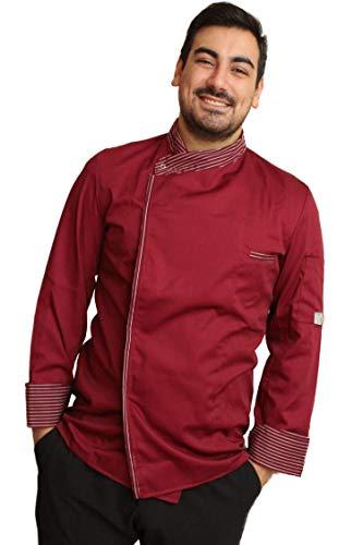 Petersabitidalavoro Kurtka kucharska do pracy, szefa, barista, pizzy, kuchni, Made in Italy, wstawki Gessati, zatrzaski do nadruku, 100% bawełna