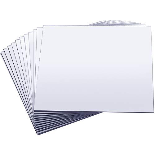 12 Piezas Bandeja de Espejo Bandeja de Vela Plato Cuadrado para Decoraciones de Boda Centros de Mesa de Boda de Baby Shower, 20 x 20 Pulgadas, 2 mm de Espesor