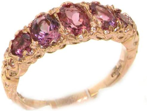 LetsBuyGold 14K Rose Gold Pink Tourmaline Eternity Band Ring
