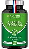 Garcinia Cambogia Pura Quemagrasas Natural | 1485 mg por Dosis 60% HCA Supresor del Apetito Termogénico | Facilita Digestión Fatburner Potente | 60 Cápsulas Vegetales Fabricado en Francia Nutrimea