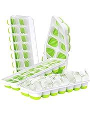 DOQAUS Ijsblokjesvorm Siliconen, 14-vaks Ijsblokjeshouder met Deksel, Siliconen Afdichting Luchtdicht & Waterdicht LFGB Gecertificeerd, Stapelbaar Ijsblokjesbakjes