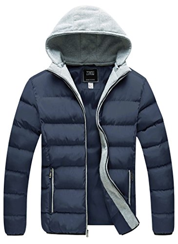 ZSHOW Mens Winter Coat Thicken Puffer Jacket Removable Hooded Quilted Jacket(Navy,Large)