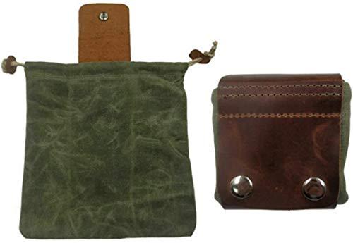 wgkgh Bolsa de cuero y lona Bushcraft, bolsa de cuero con hebilla, bolsa de lona plegable, con cordón para acampar al aire libre, bolsas de lona multifunción 01