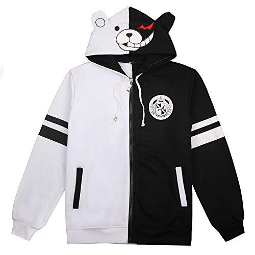 Vokaer Anime Danganronpa Monokuma Character Costume Unisex Black and White Casual Hoodie Jacket (Warm),M