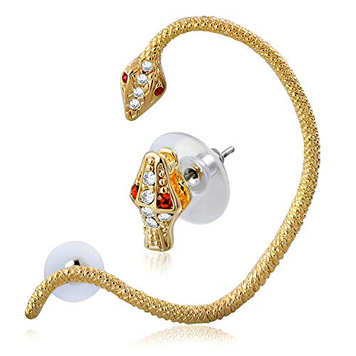 Tata Gisèle - Pendientes de acero inoxidable dorado – Serpiente con cristales rojos y transparentes