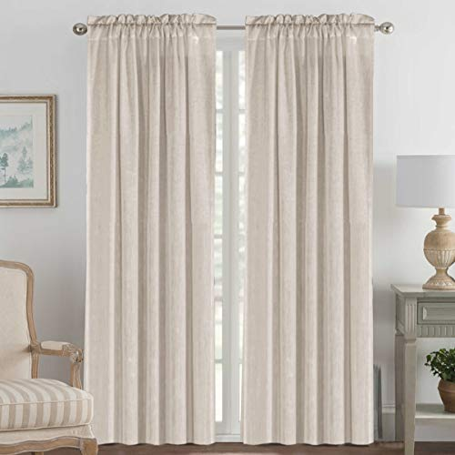 Natural Effect Extra Long Curtains Made of Line Mixed Rich Material, Rod Pocket Window Panel Drapes for Living Room / Dining Room(Set of 2, 52 by 108 Inch, Angora)