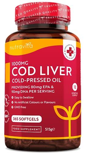 Cod Liver Oil 1000mg - 365 Softgels of Premium Cold Pressed Fish Oil - Rich...