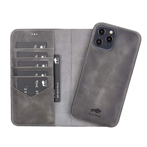 Solo Pelle Lederhülle kompatibel für iPhone 12 Pro Max in 6.7 Zoll abnehmbare Hülle (2in1) inkl. Kartenfächer für das original Apple iPhone 12 Pro Max (Vollleder Steingrau)