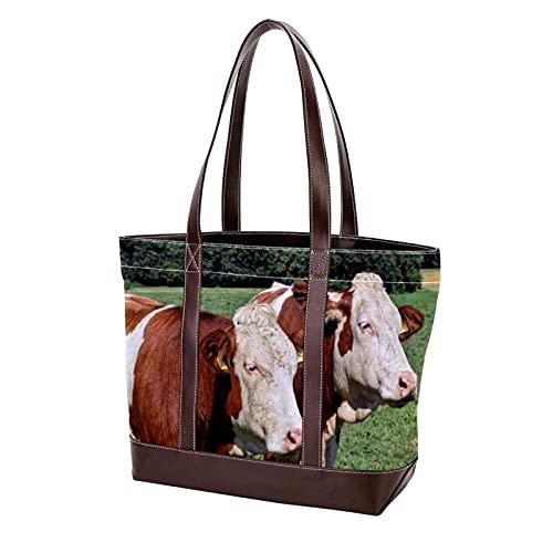 vacas pastos agricultura animal ganado naturaleza1 Bolso de mano con correa de peso ligero Bolsos de hombro para madres Mujeres Niñas Señoras Monedero para estudiantes Bolsos de compras