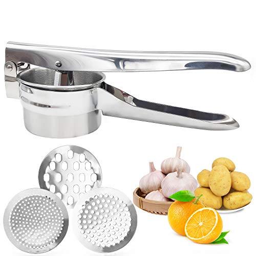 Kartoffelpresse mit 3 austauschbaren Sieben Für feinen, mittleren, groben, Für Babynahrung, Gemüse, Obst